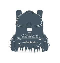 Wanderlust label with forest scene in travelbag vector