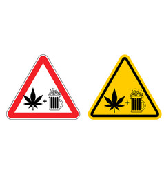 warning sign attention alcohol and drugs dangers vector image