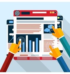 Web site seo analytics charts on screen pc vector