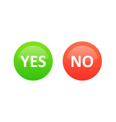 Yes and no icons green and red color vector