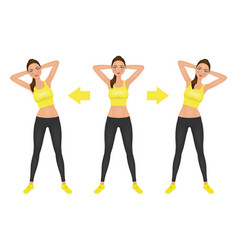 Young pretty woman make side bend exercise vector
