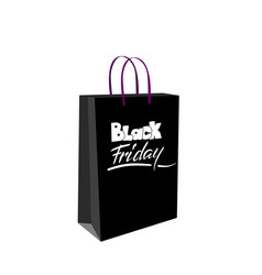 black friday sale lettering on a shopping paper vector image vector image