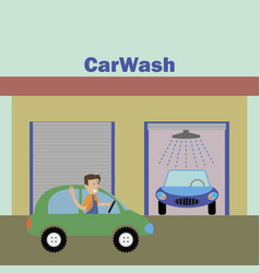 Man pulls up to the car wash vector