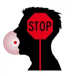 Men screaming stop sign vector