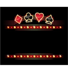neon with card symbols vector image vector image
