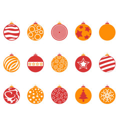orange and red color christmas ball icons set vector image vector image