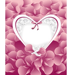Post card or frames with heart pastel pink peta vector image vector image