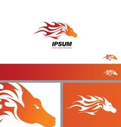 Tribal Fire Horse Head Silhouette symbol branding vector image vector image