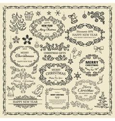vintage Christmas design elements vector image