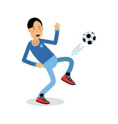 active young boy kicking a soccer ball cartoon vector image vector image
