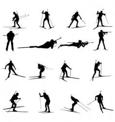 biathlon silhouette set vector image vector image