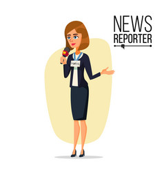 female journalist microphone professional vector image