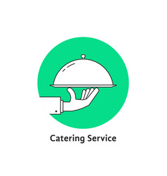 green linear round catering logo vector image