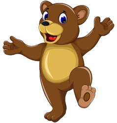 happy bear cartoon for you design vector image vector image