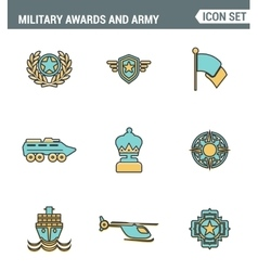 Icons line set premium quality of military awards vector image