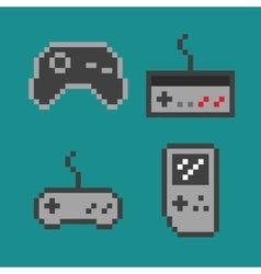 pixel art - simple gamepads vector image