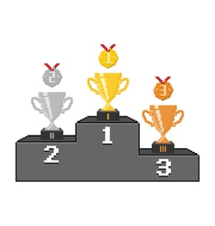 Pixel podium with trophy cups and medals vector image vector image