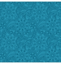 Blue arabic paisley pattern with flowers vector image