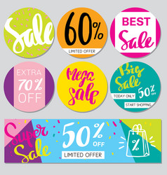 collection of big sale background vector image