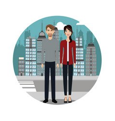 couple lifestyle together urban background vector image