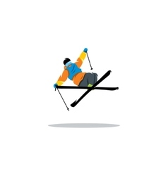 Free style skier performing a high jump vector image