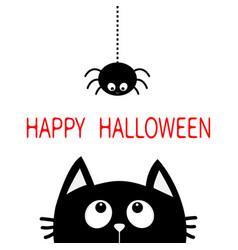 happy halloween black cat face head silhouette vector image