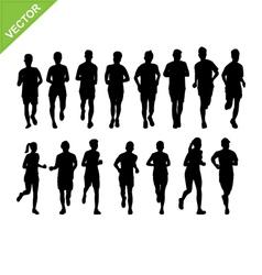 Marathon running silhouette vector image