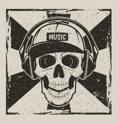 music skull vintage grunge design vector image