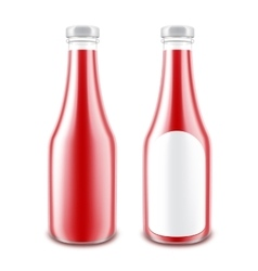 Set of Red Tomato Ketchup Bottle without label vector image vector image