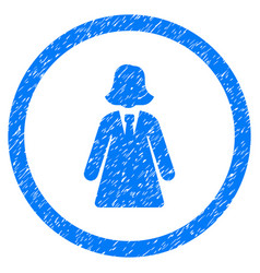 Business lady rounded grainy icon vector