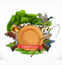 hunting and fishing 3d emblem vector image vector image