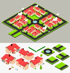 Isometric Cluster House Collection Set vector image vector image