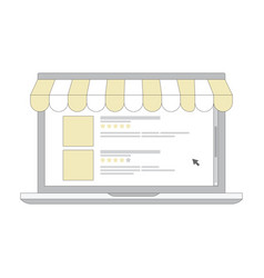 online shopping e-commerce laptop line icon with vector image