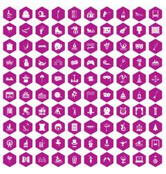 100 amusement icons hexagon violet vector