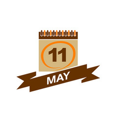 11 may calendar with ribbon vector