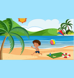 A boy playing kite at the beach vector