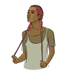 A girl with long pink hair braided in braids vector