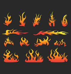 abstract color fire patterns on black background vector image