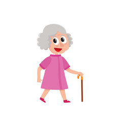 Adult woman walks happily with cane in hand vector
