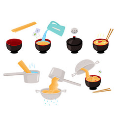 Asian chinese japanese noodle cooking vector