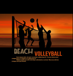 beach volleyball at beautiful sunset poster vector image