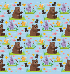 Bear character teddy pose seamless pattern vector