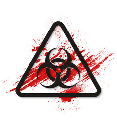 biohazard dangerous sign on bloody background vector image