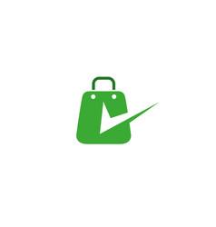 briefcases a handbag for shopping with check mark vector image