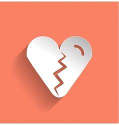 Broken heart icon flat modern design vector image