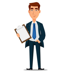 Business man in formal suit holding clipboard vector