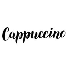 Cappuccino coffee menu lettering text cafe menu vector