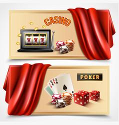 Casino realistic banner set vector