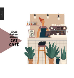 Cat cafe - small business graphics - barista at vector