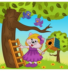 Cat girl bears a birdhouse vector